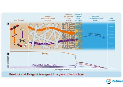 Product and reagent transport in a gas-diffusion layer